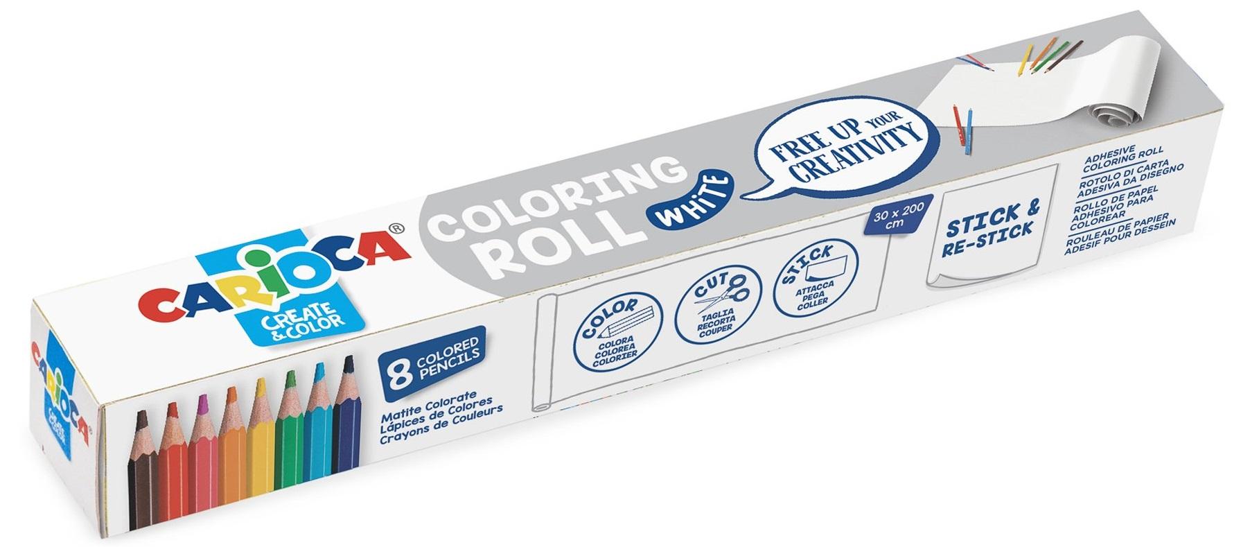 CARIOCA Coloring Roll, 30 x 198 cm/rola, hartie autoadeziva - White