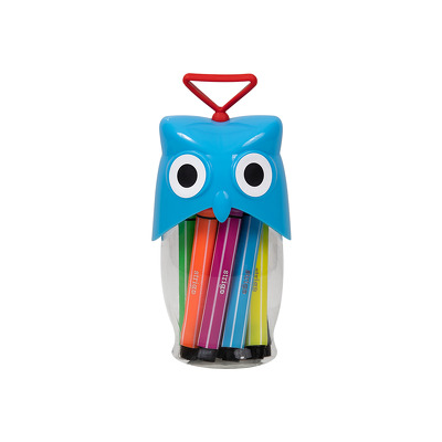 Carioci lavabile, Strigo, Cutie Bufnita, Albastru, 12 culori