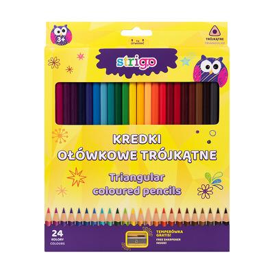 Creioane colorate Strigo, 24 culori, cu ascutitoare