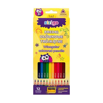 Creioane colorate Strigo cu ascutitoare, 12 culori