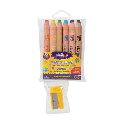 Creioane colorate Strigo Jumbo, cu ascutitoare, 6 culori