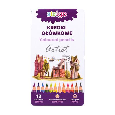 Creioane colorate Strigo, seria ARTIST, 12 culori