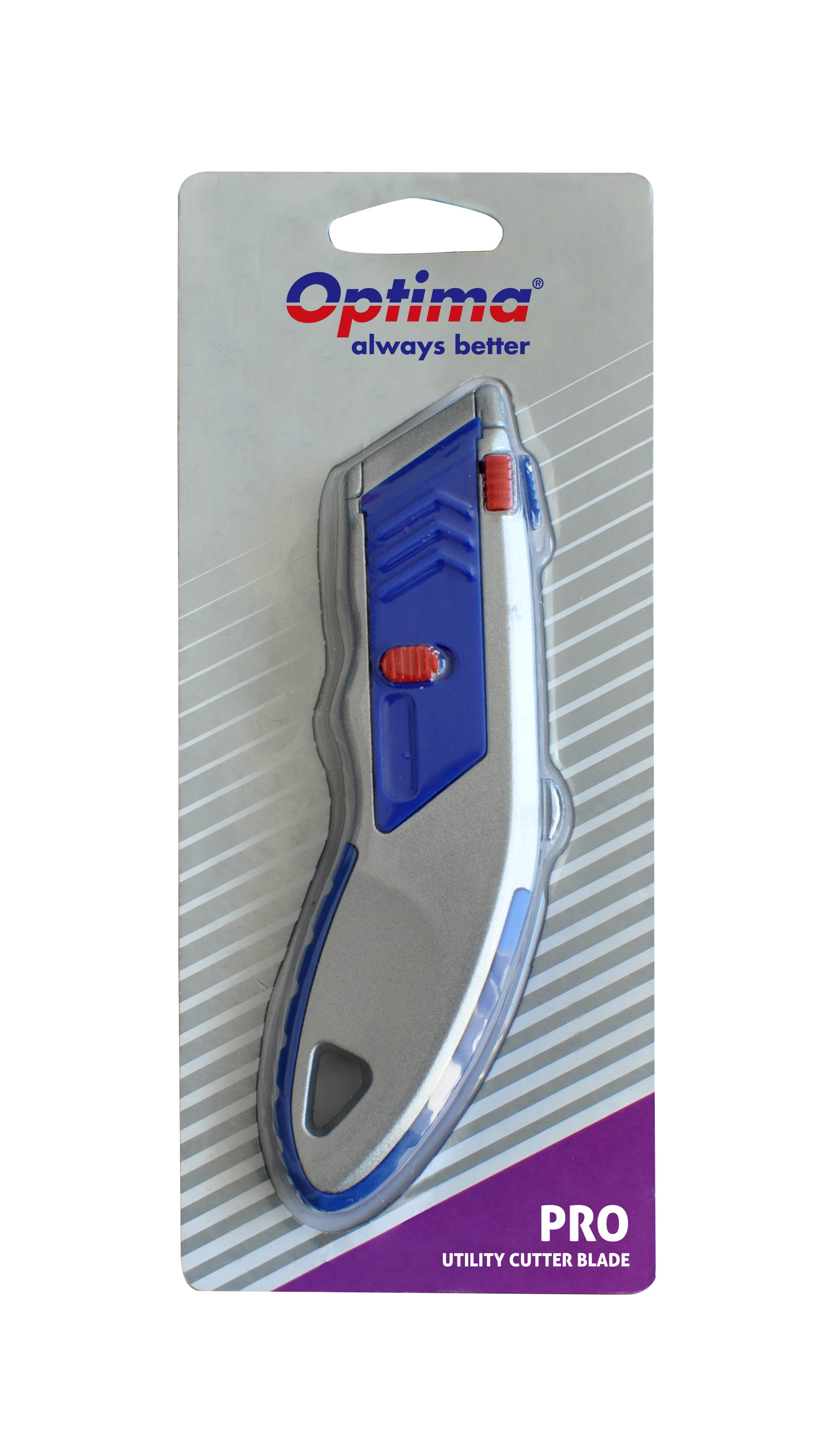Cutter profesional Optima, lama trapezoidala   5 rezerve SK5, cu auto-incarcare, zinc cu rubber grip