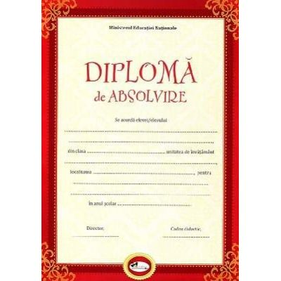 Diploma - Format A4, model absolvire, rosu
