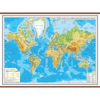 Harta fizica a lumii 1600x1200 mm - Cu sipci din MDF
