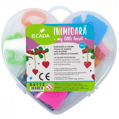 Plastilina 12 culori in forma de inima, ECADA, 84112