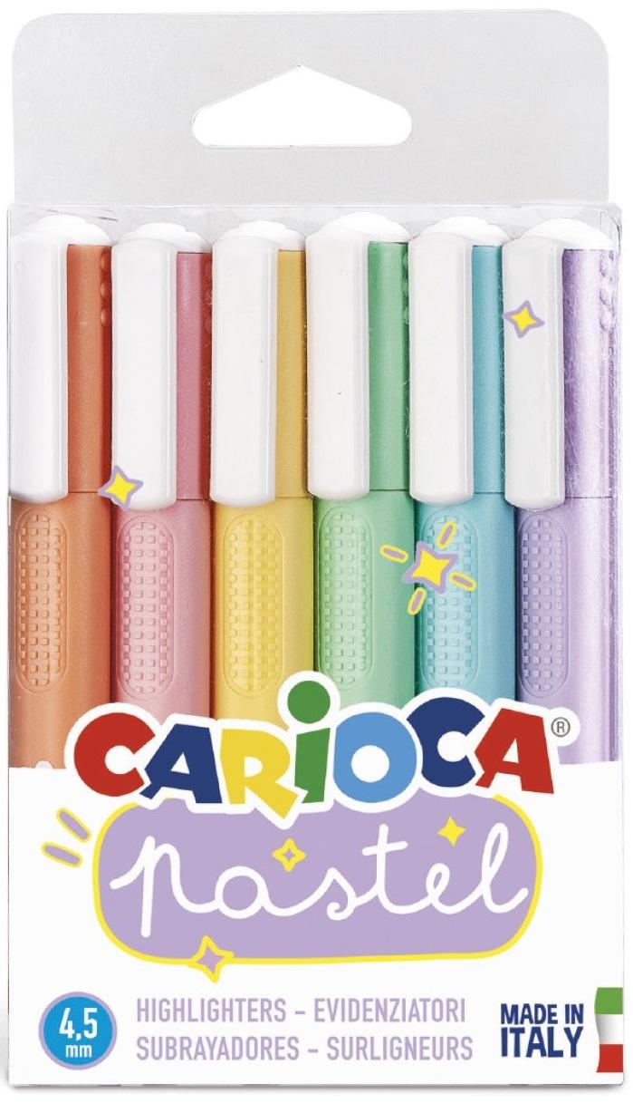 Textmarkere, 6 buc/set, Carioca Pastel - culori pastel